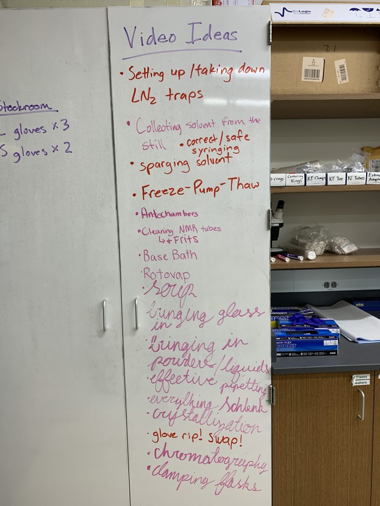 A whiteboard after a brainstorming session that includes all sorts of ideas for lab instructional videos.