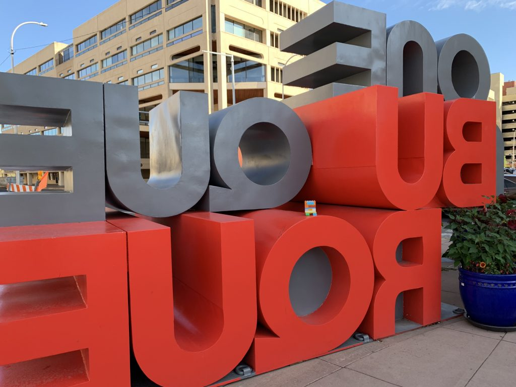 Artwork installation in Albuquerque consisting of large letters spelling out Albuquerque