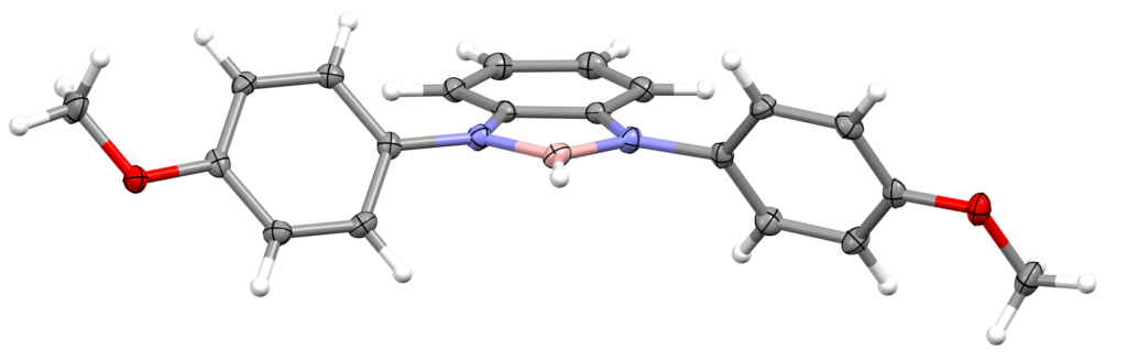 a molecular structure of a molecule viewed as a series of balls and sticks. The compound is a type of borane.