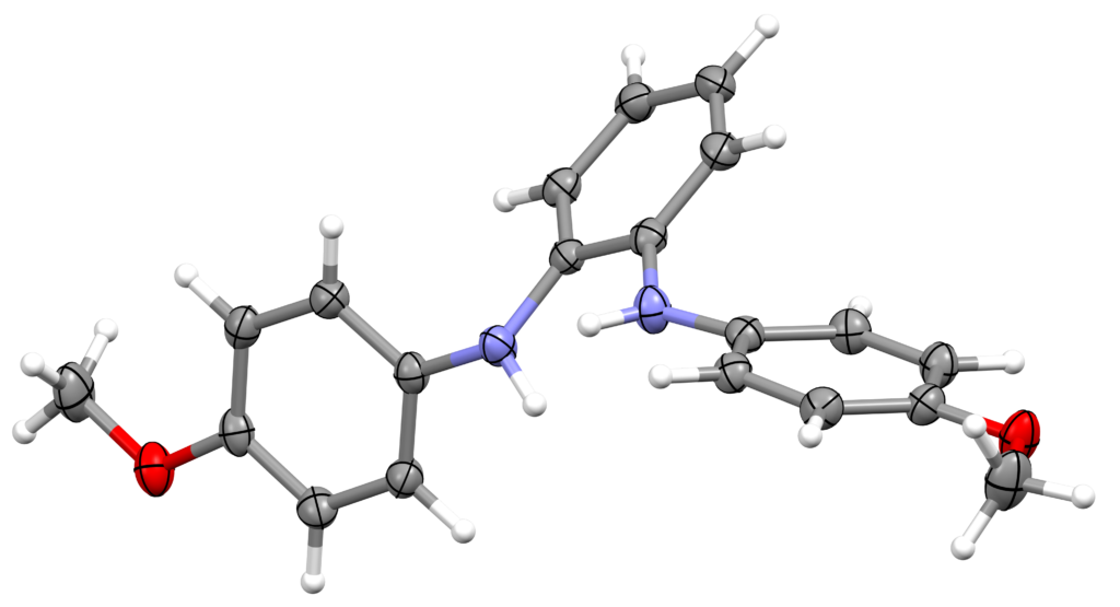 a molecular structure of a molecule viewed as a series of balls and sticks. The compound has a 1,2-diaminobenzene structure.