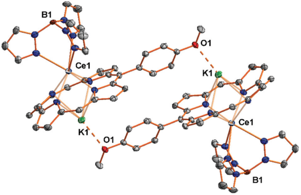 Cerium corrole complexes dimerized through the potassium-ether interaction.