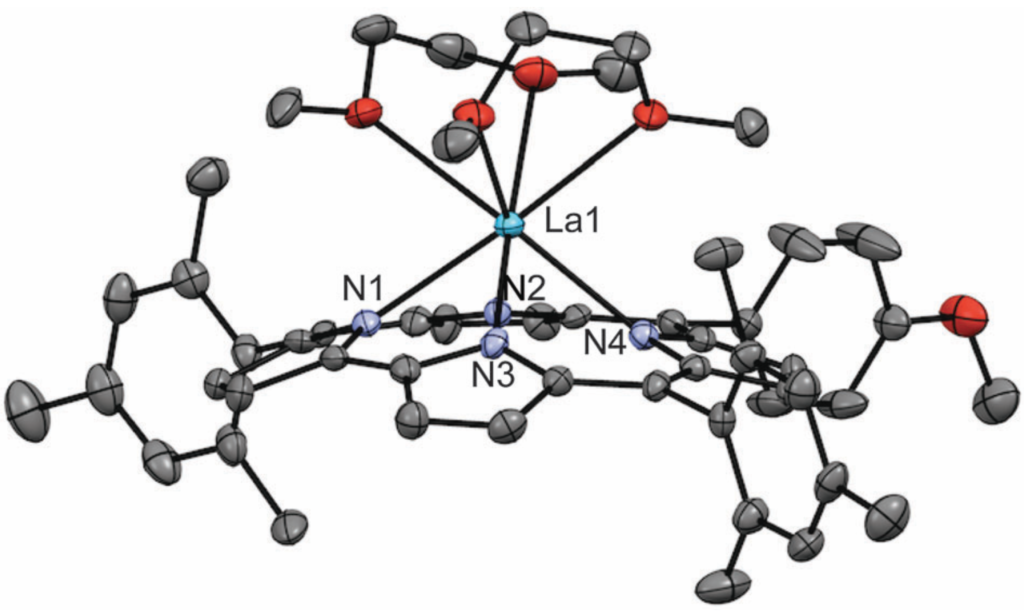 Molecular structure of lanthanum corrole complex, determined by single-crystal X-ray diffraction.