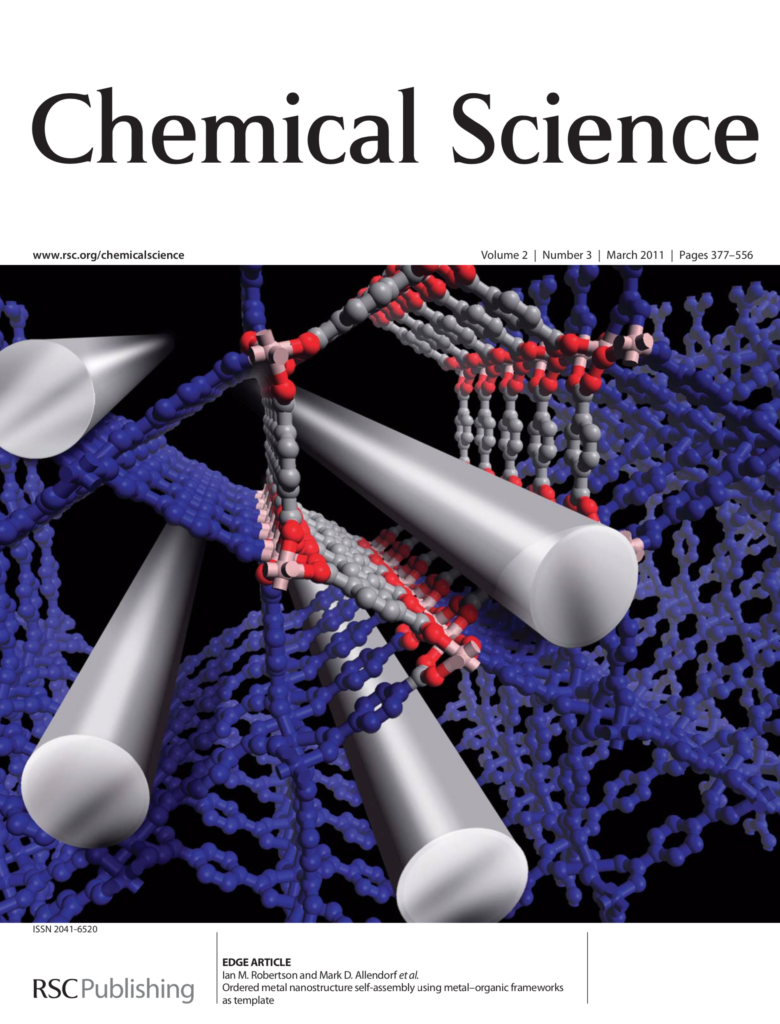 Cover of an issue of Chemical Science showing a series of molecule-sized metal rods between the pores of a metal-organic framework