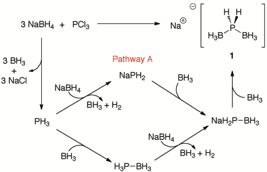 Chemical reaction scheme showing two possibilities for the synthesis of the Bis(borano)hypophosphite anion from borohydride and phosphorus trichloride