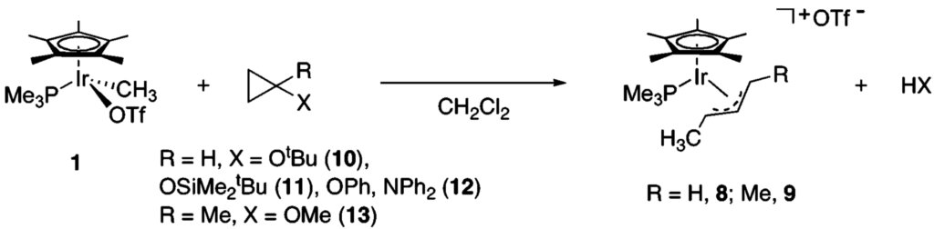 Chemical synthesis scheme of an iridium complex that transfers a methyl group into a cyclopropane ring compound