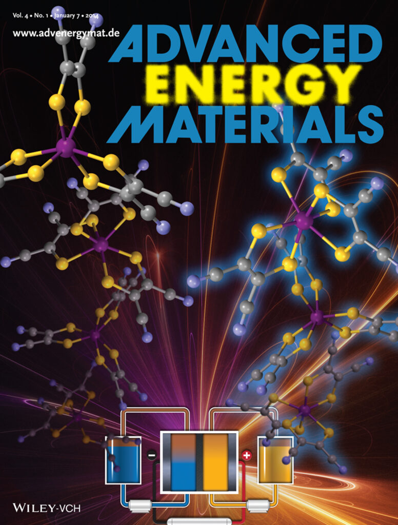Cover of Advanced Energy Materials showing a cartoon drawing of a redox flow battery with vanadium complexes in a discharged and charged state (charged is indicated by it being drawn with a blue light behind them)