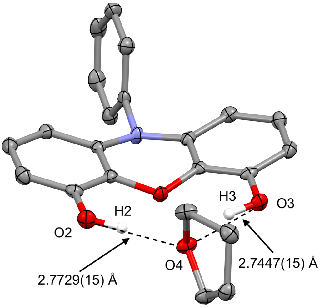 The solid state molecular structure of 10-Phenyl-10H-phenoxazine-4,6-diol tetrahydrofuran monosolvate with hydrogen-bonding indicated by dotted lines and connecting the atoms that are bonding with distances listed.
