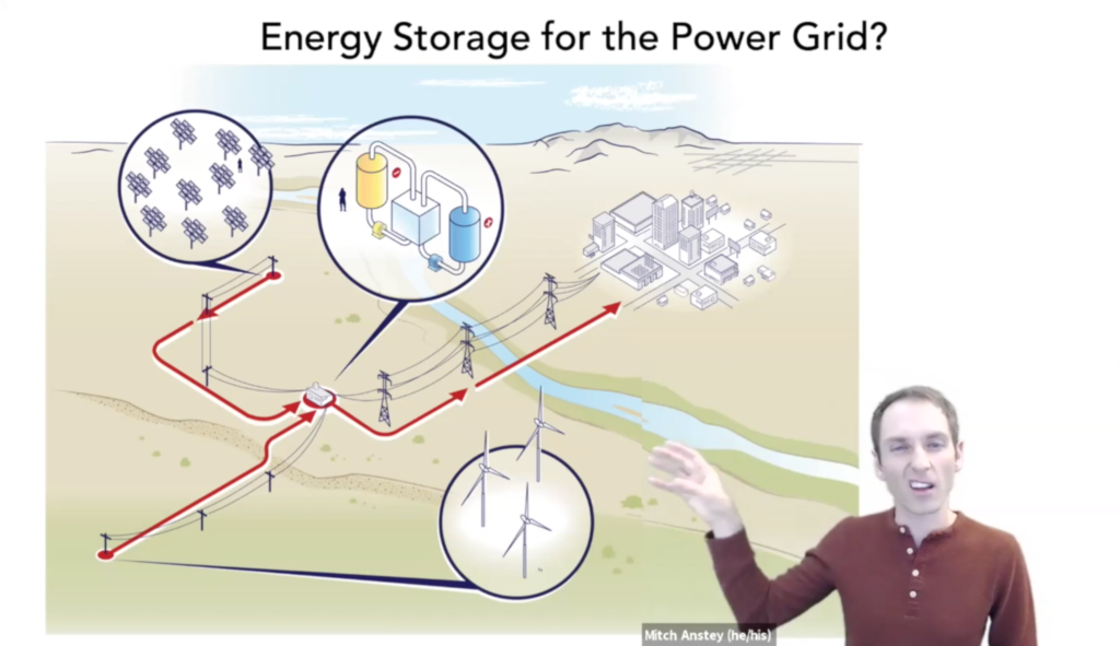 A person, making a goofy face, overlaid onto a slide that discusses how alternative energies can be integrated into the energy grid using storage.