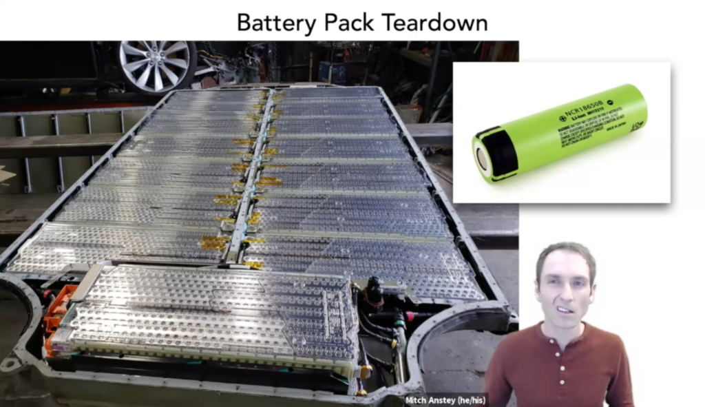 A person, making a goofy face, overlaid on a slide talking about the construction of the Tesla car's battery pack.