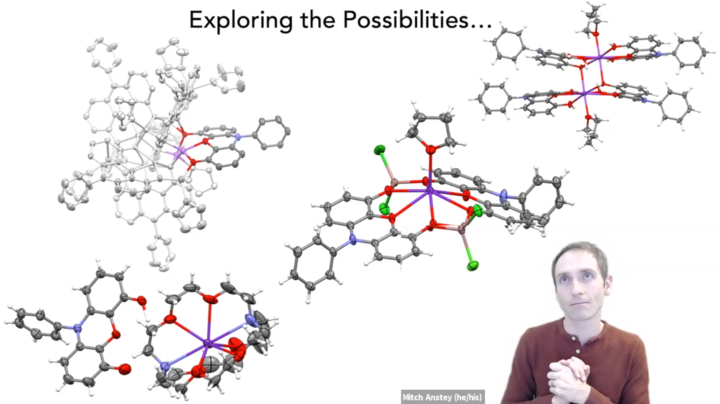 A person, making a goofy face, overlaid on a slide featuring different molecular structures from a battery science chemistry program.